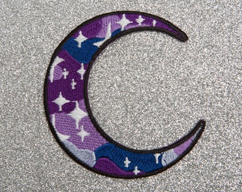Galaxy Crescent Moon Patch - Made with Vegan Iron-On Adhesive - Embroidery Sewing DIY Customise Denim Cute Stars Purple Blue Glitter Space