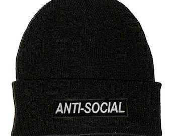 Anti-Social Black Beanie Hat Embroidered Patch - Stoner Hipster Cute  Aesthetic Tumblr Teen Monochrome 7afbdf43eb3f