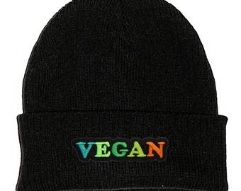 d5cb07612a0 Vegan Black Beanie Hat Embroidered Patch - 90s Stoner Skater Hipster Grunge  Festival Vegetarian Veggie Cute Eat Green Multicoloured