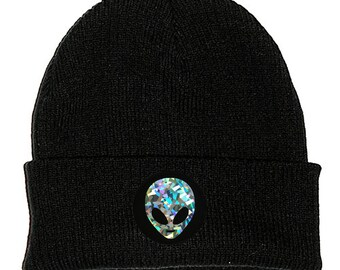 4def7c0bc3e38 Holographic Alien Black Beanie Hat Embroidered Patch - 2 Sizes - Stoner  Hipster Iridescent Shiny Glitter Rainbow  90s Cute Space Galaxy UFO