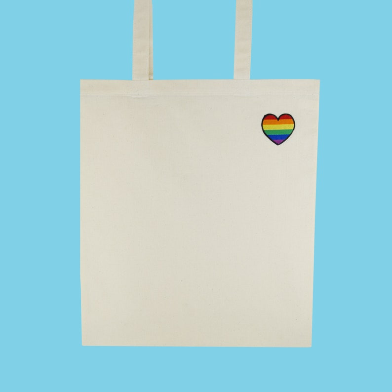 Embroidered Patch Ethically Sourced LGBT Heart Tote Bag 100/% Cotton