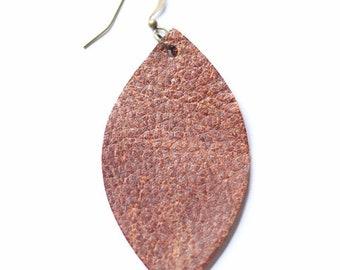 Leather Earrings Brown Leaf Earring