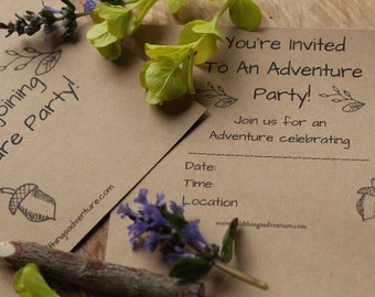 Party Invitations and Thank You Note Cards Adventure Birthday Party PDF
