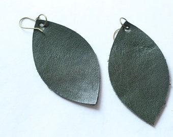 Leather Earrings Green Leaf Earring