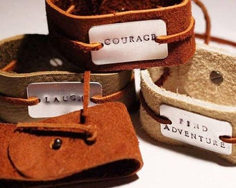 Hand Stamped Jewelry Leather Cuff Personalized Custom
