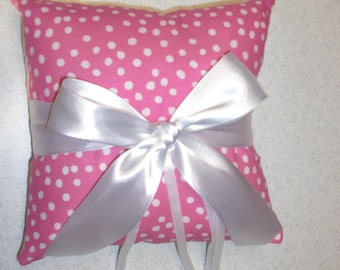 8 x 8 Inch Ramdom Dots on Pink Ring Bearer Pillow