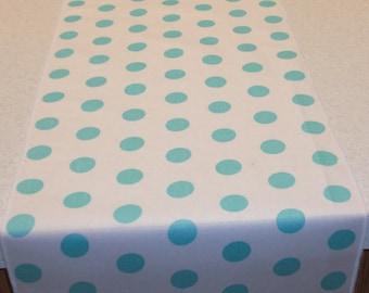 11 x 72 Inch Aqua Polka Dot Table Runner