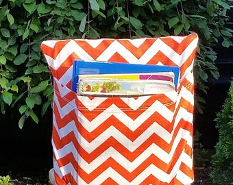 Preschool Classroom  // Seat Sacks // Storage  <<12 inch VALUE>> Tangerine Chevron // Day Care // CLOSEOUT