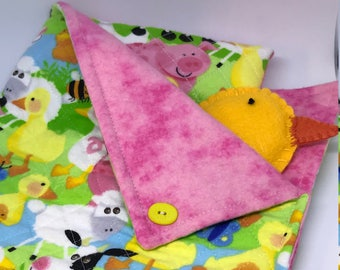 Sleeping Bag and Pillow Set for Lalaloopsy Littles Doll // Camping set // Sleepover // Pajama Party // Doll Bed // Farm Animals Cow Pig
