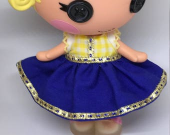 Handmade Dress for Lalaloopsy Little Doll // Little Sister // Doll Clothes  // Under 10 // For Girls // Yellow Blue