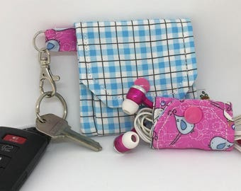 Pocket Pouch and Cord Wrap // Earbud Pouch // Key Chain // Credit Card Holder // Gift Idea // Under 10 // Stocking Stuffer //SALE