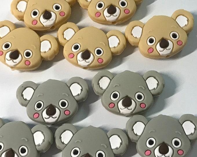 Koala TEETHING BEADS // Koala Beads // Baby Teething Beads // Silicone Beads // Silicone Baby //You Choose Color and Quantity / BPA free