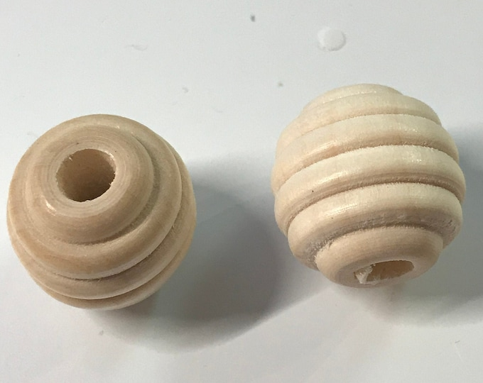 20 mm Beech Wood BEEHIVE beads // Beechwood Beads // Unfinished Beech // Craft Supplies // You Choose Size and Quantity