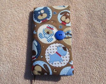 Fabric Covered Pocket Calendar // Refillable 2020 Planner Organizer // For Her // Under 10 Handmade Gift Idea for Purse Desk / Dog Circles