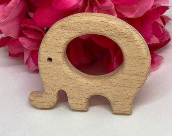 ELEPHANT V1 <24> zoo safari animal Wood Shape Baby Teething Toy (round body)