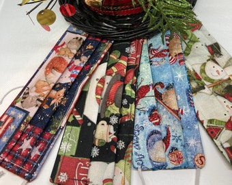 HOLIDAY Christmas Fabric Face Mask // Fabric Face Mask // ReAdY 2 sHiP //  3 Layers / Reversible / Elastic with Cord Stops / Snowman