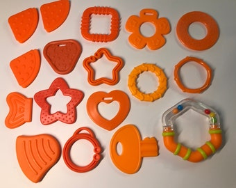 ORANGE Baby Teething Shapes // Baby Teething // For Baby // Sensory Toys // Teething Toys // Teething Blankets