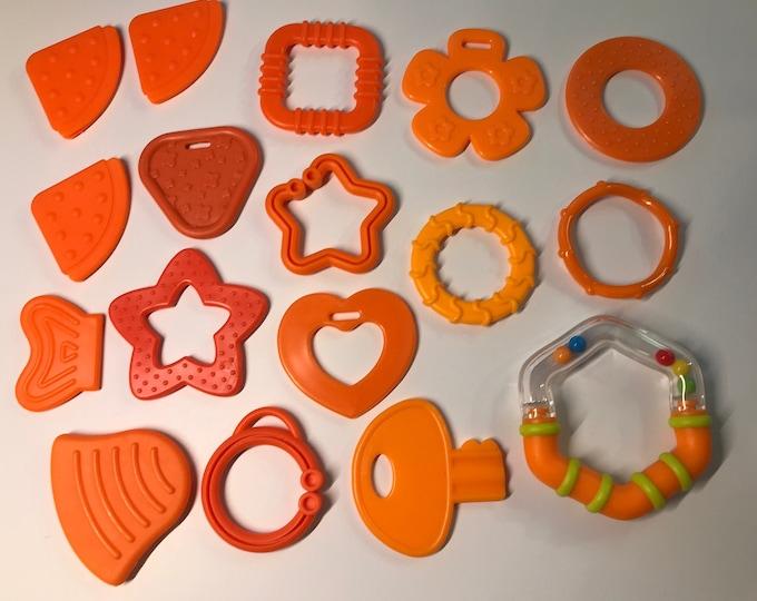 ORANGE // Silicone Baby Teething Shapes // Silicone Teething // For Baby // Sensory Toys // Teething Toys // Teething Blankets