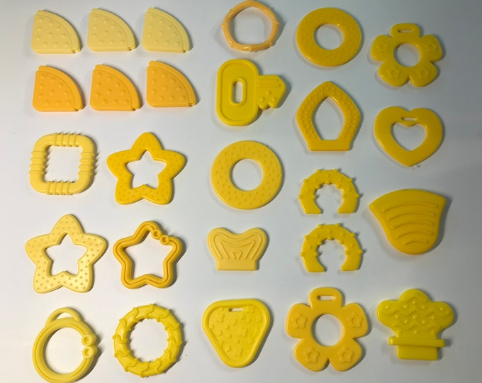 YELLOW // Silicone Baby Teething Shapes // Silicone Teething // For Baby // Sensory Toys // Teething Toys // Teething Blankets // Handmade