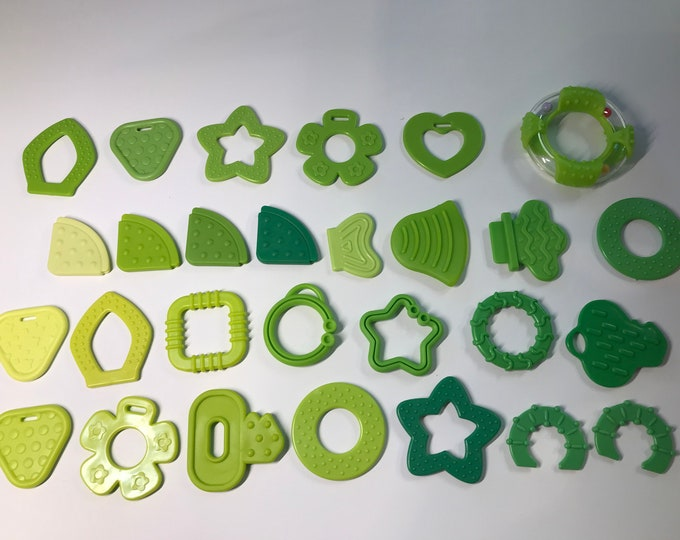 GREEN// Silicone Baby Teething Shapes // Silicone Teething // For Baby // Sensory Toys // Teething Toys // Teething Blankets