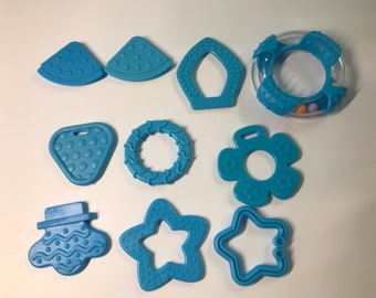 TURQUOISE & TEAL Baby Teething Shapes // Baby Teething // For Baby // Sensory Toys // Teething Toys // Teething Blankets