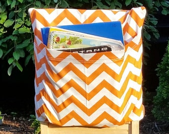 Chair Pockets // 16 inch VALUE // Orange Chevron /  Teacher Classroom // Organization // Kindergarten Elementary School  //Expandable Pocket