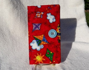Fabric Covered Pocket Calendar // Refillable 2020 Planner Organizer // For Her // Under 10 Handmade Gift Idea for Purse Desk / Red Kites