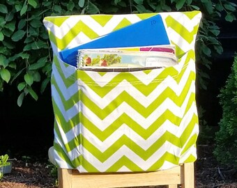 Preschool Chair Pockets // Preschool Storage //12 inch VALUE // Daycare Day Care // Green Chevron  // Book Storage // CoffeeKidsNDolls