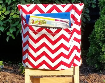 Preschool Chair Pockets // Preschool Storage //12 inch VALUE // Daycare Day Care // Red Chevron  // Book Storage // CoffeeKidsNDolls