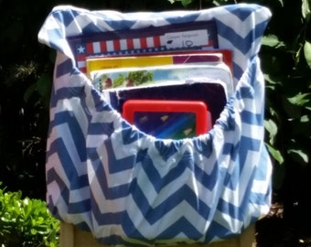 16 inch // Dusky BLUE ChEvRoN // Chair Pockets // CLOSEOUT // PREMIUM