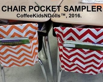Chair Pockets SAMPLER //Teacher Classroom Organization // Elementary School //Seat Sacks Covers //Expandable //Chevron Duck //Set of Two