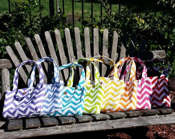 Medium Tote Bag // Purple Chevron Duck Tote // Fabric Purse // Bible Bag // Diaper Bag // Book Bag // Washable // Handmade // For Her