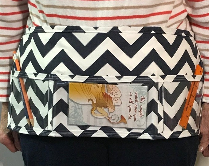 Utility Apron // NaVy ChEvRoN // Teacher Apron // Clear Pocket Apron // Craft Apron //Teacher Gift // Gift Idea // Under 20