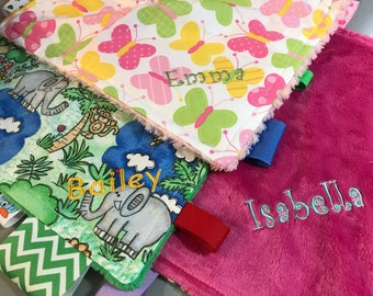 Embroidery ADD ON for Taggie Blanket Kit // Personalized // Monogram // Embroidered Custom Personalized Blanket // You Choose Color Font