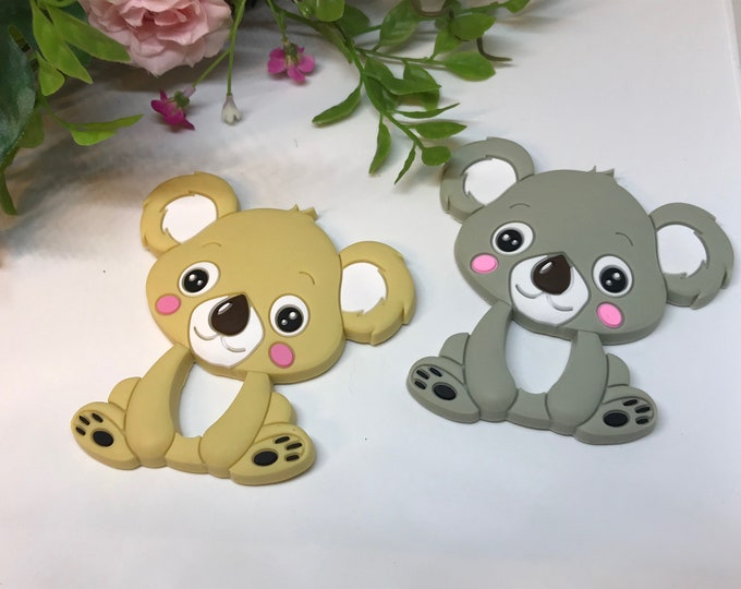 Koala Teether // Silicone Teether Pendant // Handmade Baby // Teething Toys Chew // Food Grade Silicone // BPA Free // Tan or Gray