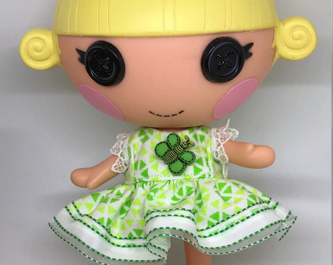 Handmade Dress for Lalaloopsy Little Doll // Little Sister // Doll Clothes  // Under 10 // For Girls // Green