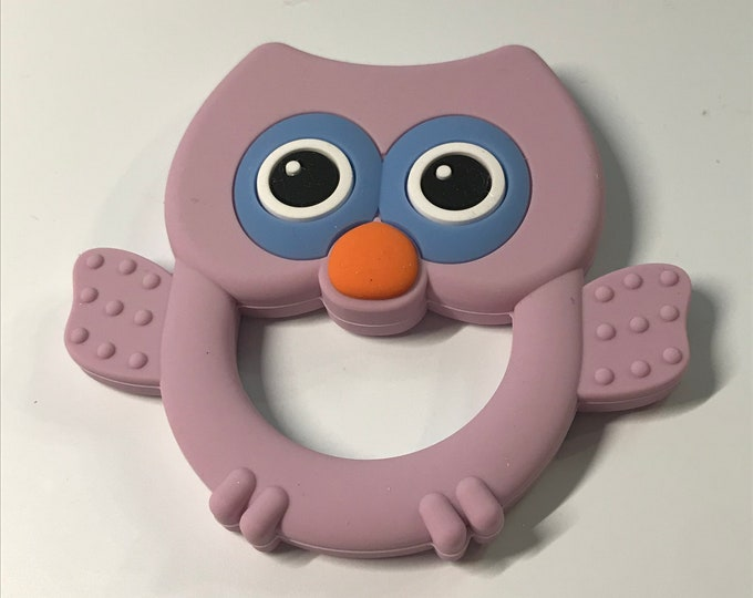 Owl Teether // Sample Sale // Silicone Teether Pendant // Handmade Baby // Teething Toys Chew // Food Grade Silicone // BPA Free