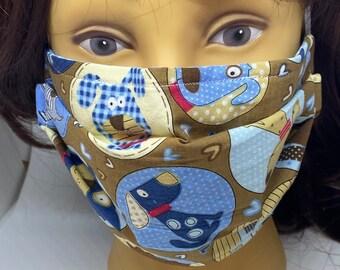 Dog Themed Fabric Face Mask //Puppy Dog Novelty Mask // ReAdY 2 sHiP //  Dog Lover // Green Dog // Dogs //  ~~ Dog Spots ~~