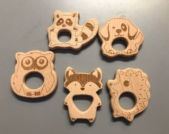 Wooden Shapes // Beech Wood // Wood Animal Shapes //EnGRAvEd SaMpLeR // porcupine DOG raccoon OWL fox
