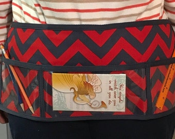 Utility Apron // ReD & NaVy ChEvRoN // Teacher Apron // Clear Pocket Apron // Craft Apron //Teacher Gift // Gift Idea // Under 20