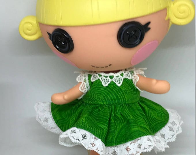 Handmade Dress for Lalaloopsy Little Doll // Little Sister // Doll Clothes  // Under 10 // For Girls // Swirly Green