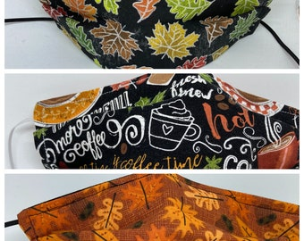 FALL Fabric Face Mask // Limited Edition // ReAdY 2 sHiP //  BrIgHt LeAvEs / FaLL dRiNkS / FaLLiNg LeAvEs &AcOrNs