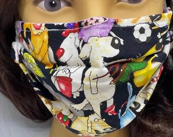Dog Themed Fabric Face Mask //Puppy Dog Novelty Mask // ReAdY 2 sHiP //  Dog Lover // Green Dog // Dogs //  ~~ A Dogs Life ~~
