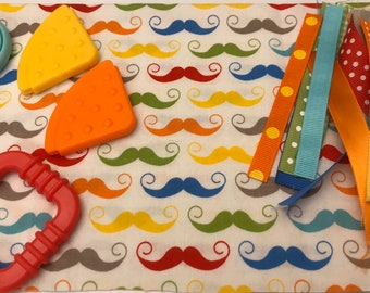 Taggie Blanket Kit // Lovey Tag Blanket // Minky Cuddle Toy // Security Blanket // Easter Basket Gift Idea For Baby Shower // Moustache