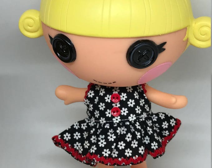 Handmade Dress for Lalaloopsy Little Doll // Little Sister // Doll Clothes // Under 10 // For Girls // Black Floral