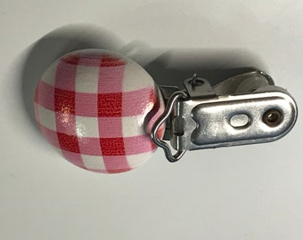Pink White Plaid Circle Pacifier Clip // Round Wood Pacifier Clip // Heavy Duty Metal Clip // Paci Clip // Toy Clip