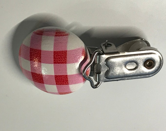 Pink White Plaid Circle Pacifier Clip // Round Wood Pacifier Clip, Metal Clip // Paci Clip // Toy Clip
