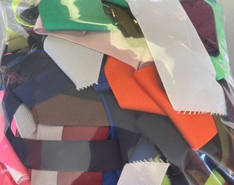 SOLID COLOR GROSGRAIN Ribbon Lot for Crafts Toys Hair Bow Hobbies Sewing // Big Bag of Ribbon Multi Colors Solid Colors