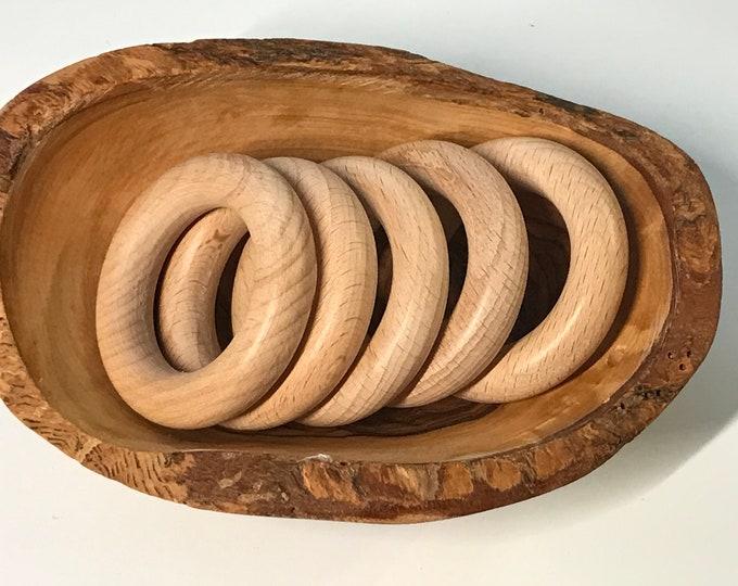 2 Inch Beech Wood Rings // 50 mm rings // Natural Wood Ring // Teething Toy // Baby Ring // Organic Baby Teething Ring