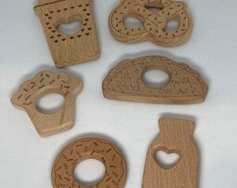 FOOD Beech Wood Shape Sampler // Wooden Shapes // CoFFee CuP MiLk BoTTle CuPcAkE PrEtZeL DoNut TaCo